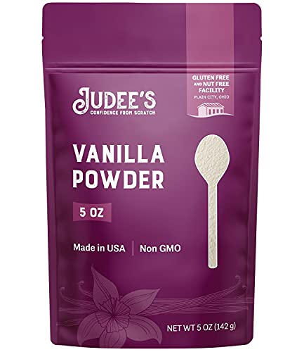 Judee's Premium Vanilla Flavor Powder 5 Oz - Non-GMO, Made in the USA - Add Vanilla Flavor to your Recipes including Baked Goods, Coffee, Yogurt, Smoothies, Protein Shakes