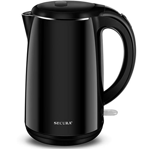 Secura SWK-1701DB The Original Stainless Steel Double Wall Electric Water Kettle 1.8 Quart, Black Onyx