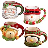 Certified International'Santa, Snowman, Penguin & Bear' 3D Figural Mugs (Set of 4), Multicolor