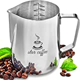 Milk Frothing Pitcher 20oz - Steaming Pitchers 12 20 30oz - Measurements on Both Sides Inside Plus eBook - Frother cup for Espresso Machines, Milk Frothers, Latte Art - Stainless Steel Coffee Jug