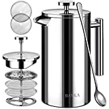BAYKA 34 Oz French Press Coffee Maker, 304 Grade Stainless Steel, Double Wall Insulated Coffee Press for Home Office, 4-Level Filtration Systems, 2 Extra Mesh Filters Included, Dishwasher Safe