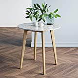 Nathan James Amalia Round Bistro Dining Table with Legs in Tan Wood Finish and Faux White Carrara Marble Top, Light Brown