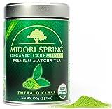 Midori Spring Premium Authentic Japanese Organic Ceremonial Matcha Powder - Radiation Free, USDA Organic, Kosher, Vegan (Emerald 100g)