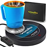 VOOLTA Smart Coffee Cup Warmer - Auto-Gravity Activated Coffee, Tea & Milk Cup Warmer for Desk - Concave Aluminum Heater Disk for All Style Cups – Tempered Glass Coffee Mug Warmer, Auto Shut Off