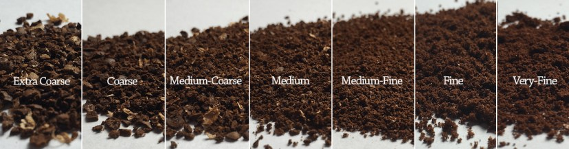 Coffee beans ground to different coarseness.
