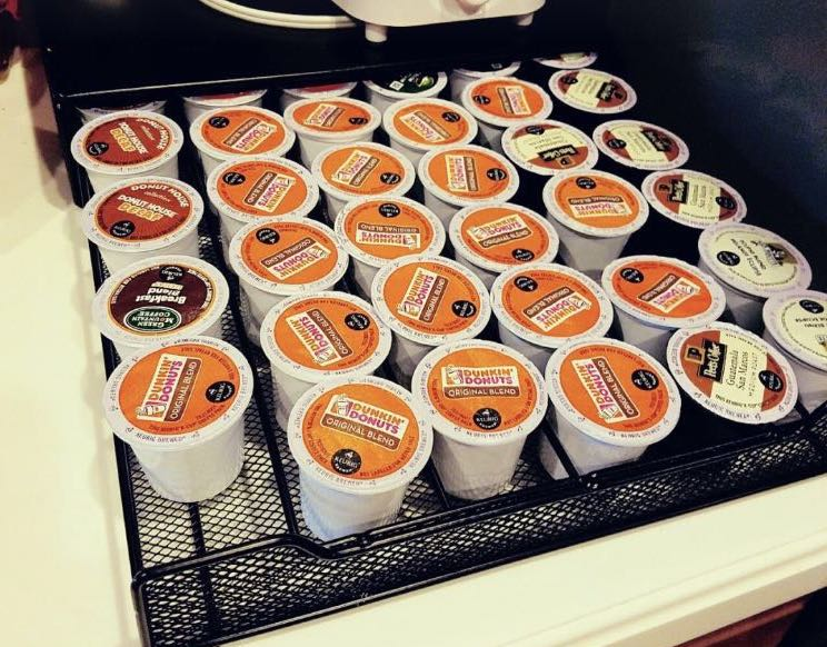 white keurig pods in a tray