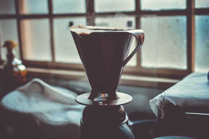 freshly prepared pour over coffee