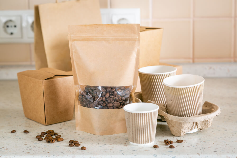 Food and drink craft packaging set on kitchen