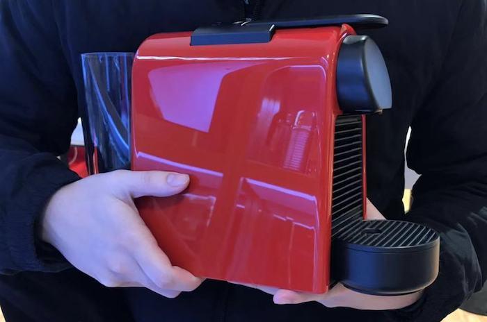 red Nespresso Essenza machines by De'Longhi