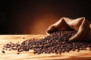 coffee beans with juta bag