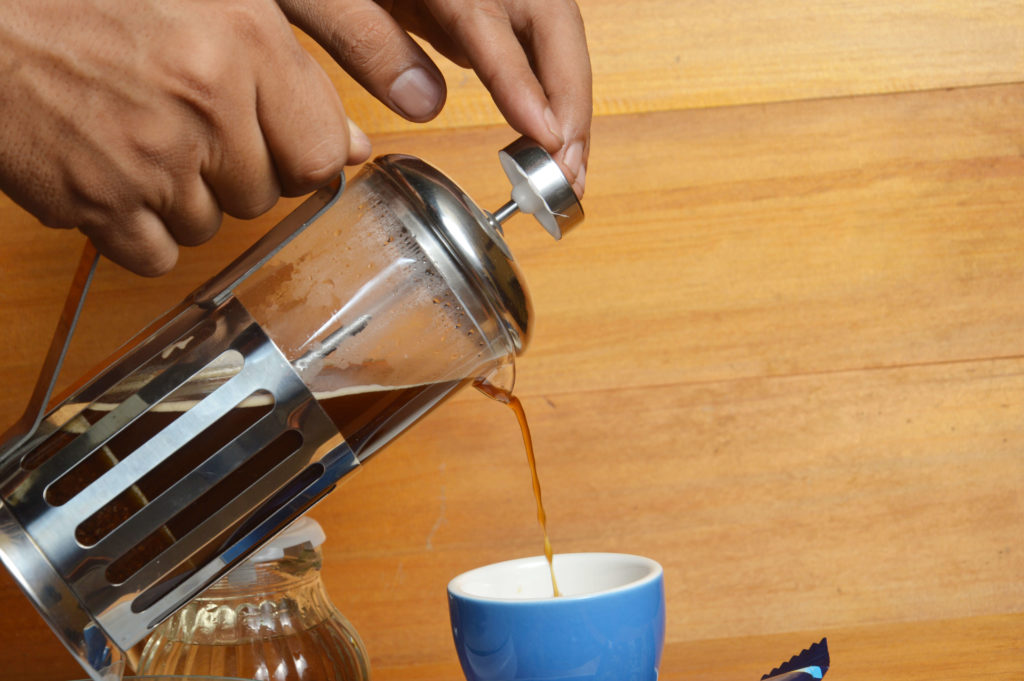 Coffee dripping in french press