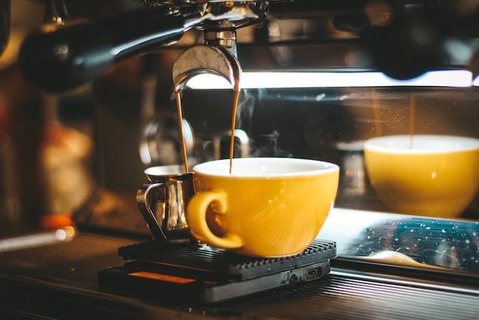 Coffee and an espresso machine.