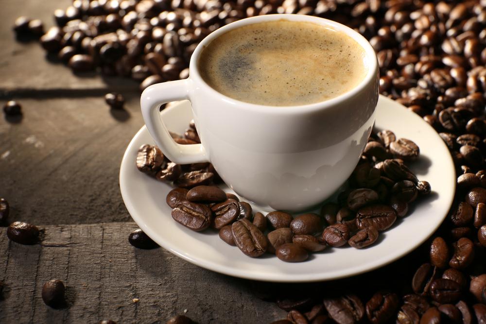 espresso coffee with espresso beans