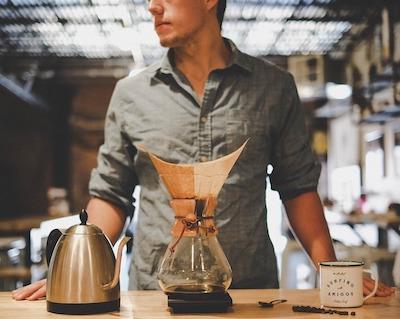 a coffee man with chemex