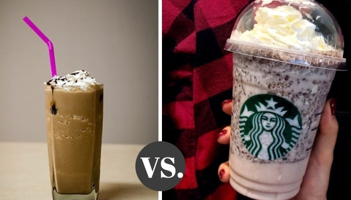 A cup of Frappe and a cup of Frappuccino.