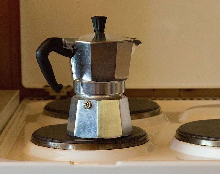 moka pot on electric stovetop