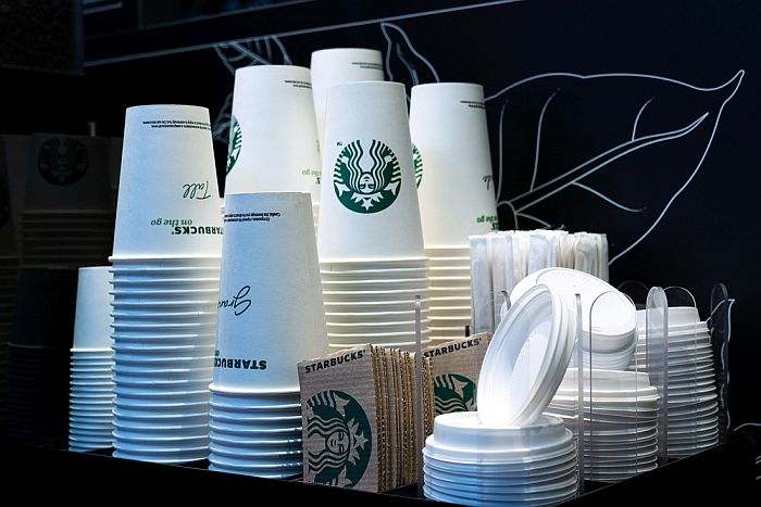 Starbucks disposable paper cups