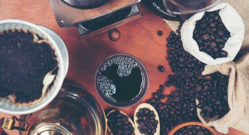 Black coffee and coffee beans.
