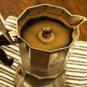 Italian coffee in a traditional coffee pot.