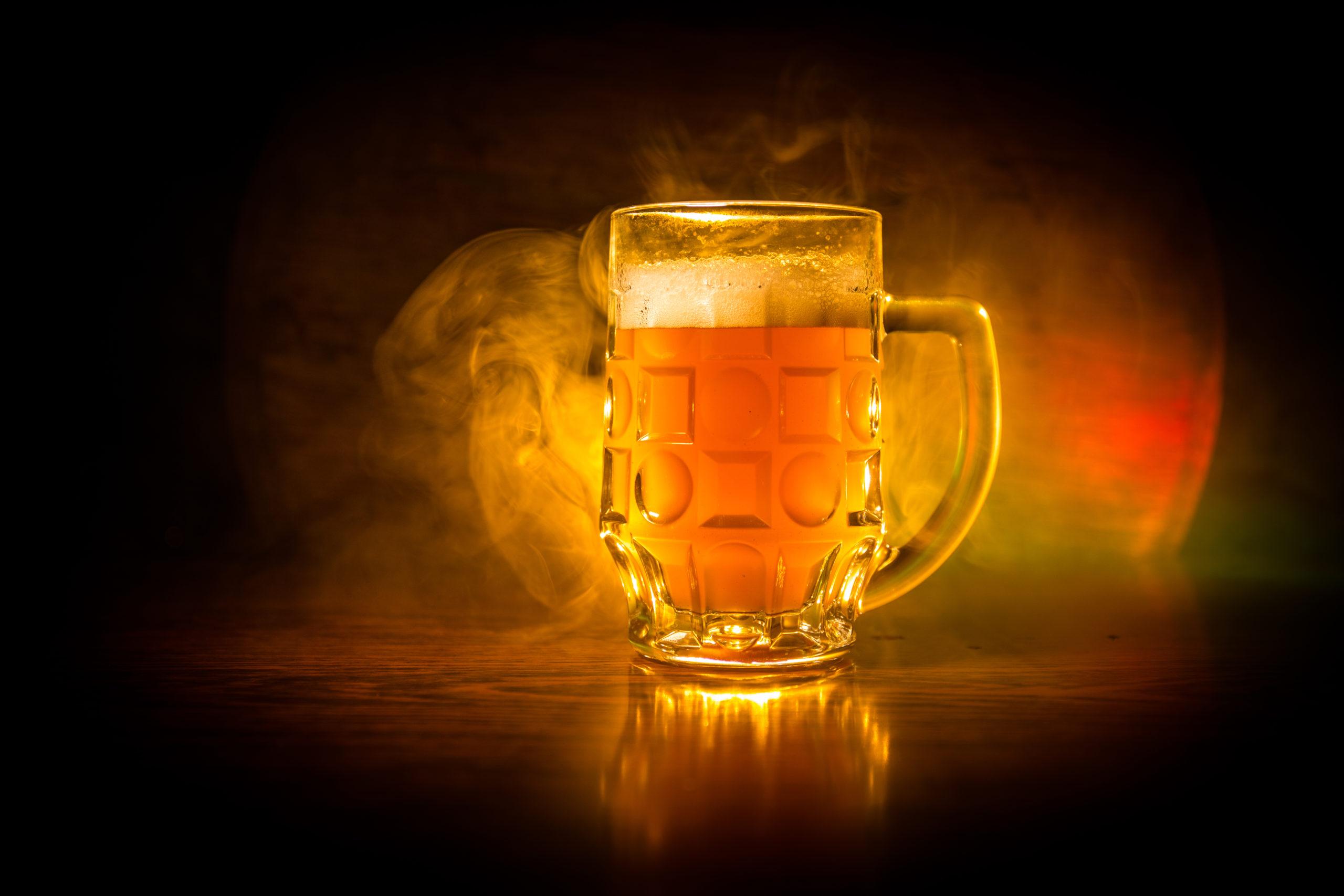 Beer in a pint mug.