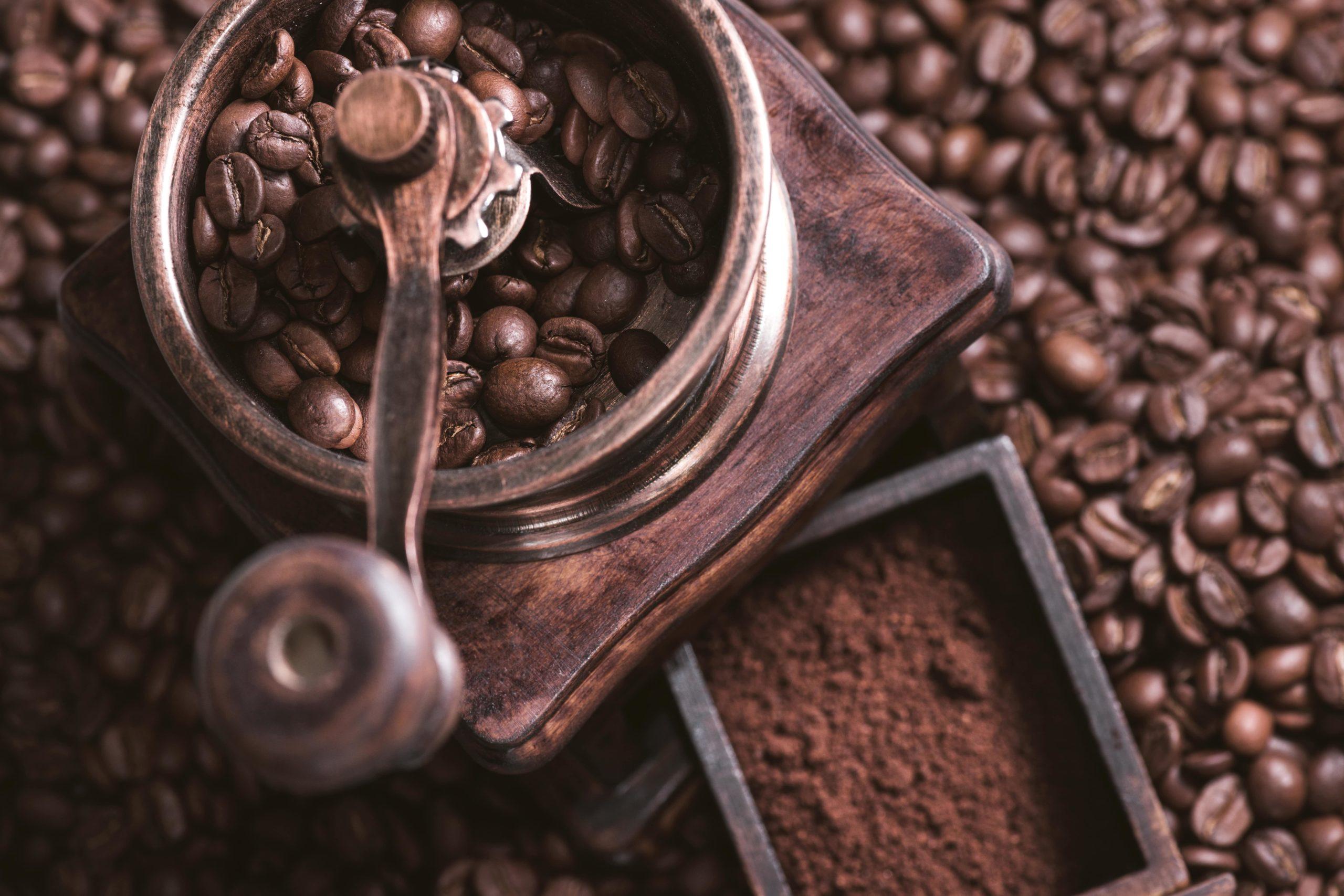 Manual coffee bean grinder.