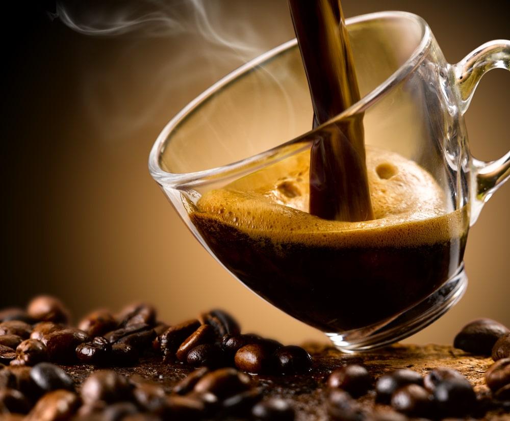 Espresso coffee in a glass cup.
