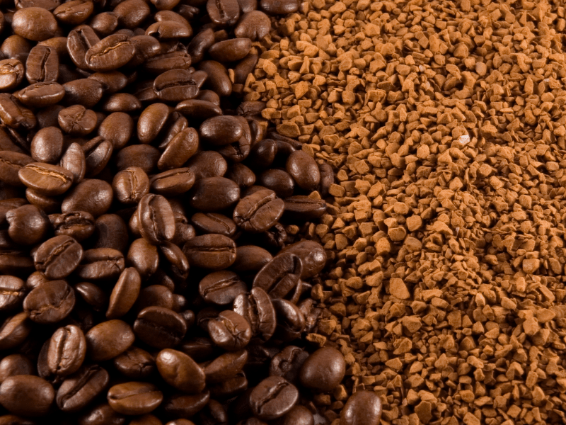 Coffee beans and granules - Roasted Coffee Vs Instant Coffee