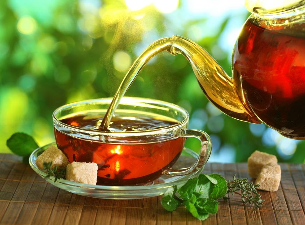 A cup of freshly brewed Oolong tea.