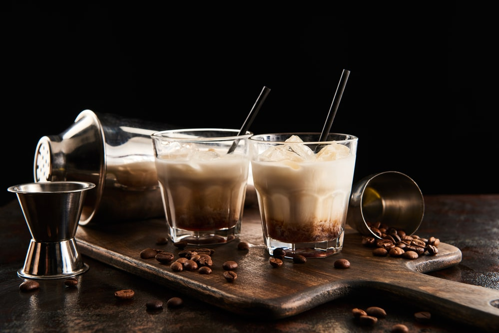 Vodka liqueur coffee in glasses.