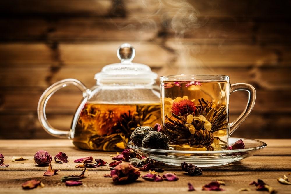 Herbal tea in a glass mug.