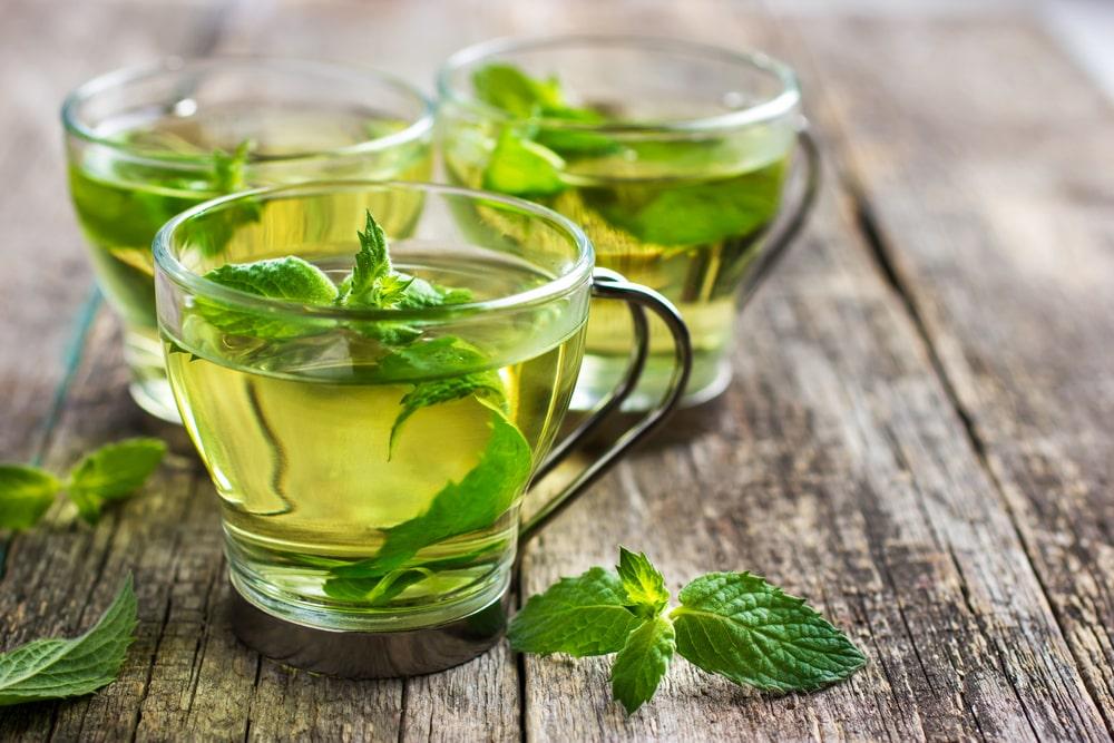 Mint tea in a glass mug.