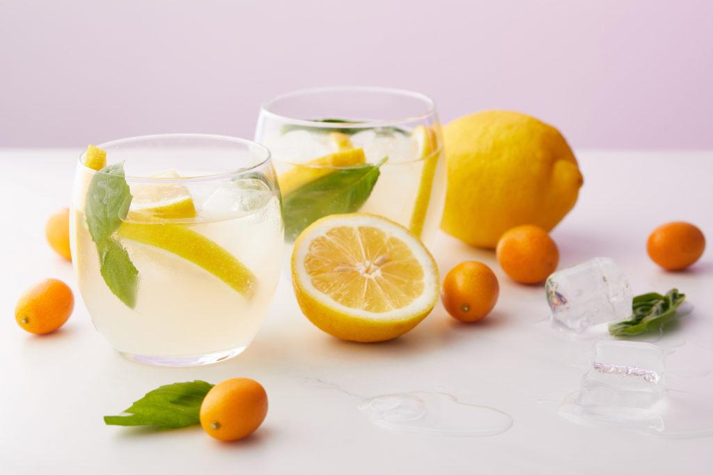 A glass of fresh lemonade.