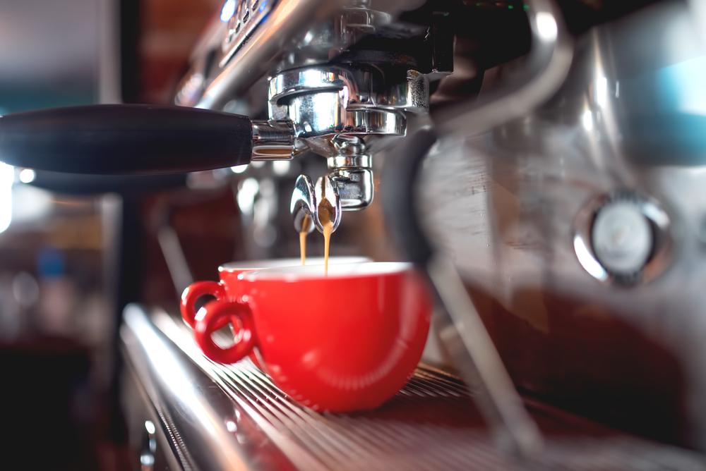 Brewing espresso in a coffee shop