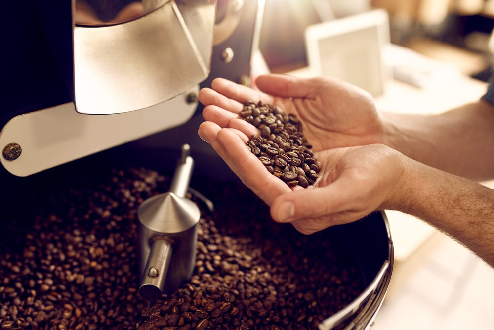 Coffee beans ready for grinding.
