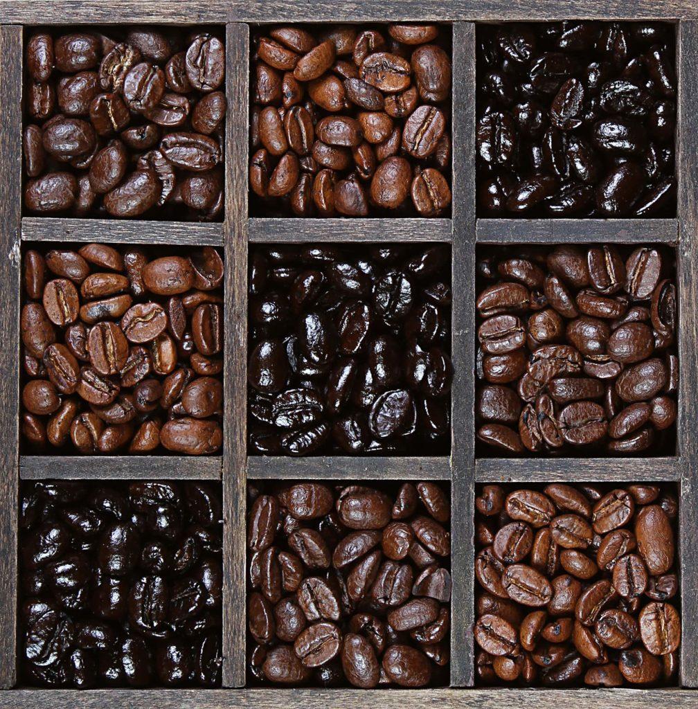 Light and dark coffee beans