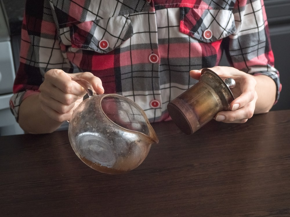 How to clean burnt coffee pot