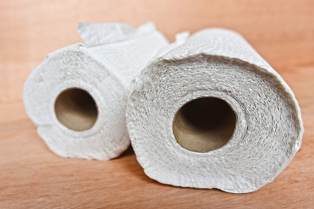 paper towel as a coffee filter - two rolls of paper towel on a wooden table