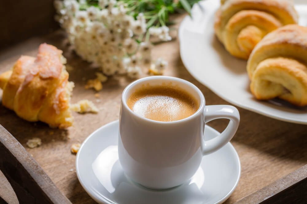 How does coffee affect blood test - hot coffee and croissant for breakfast