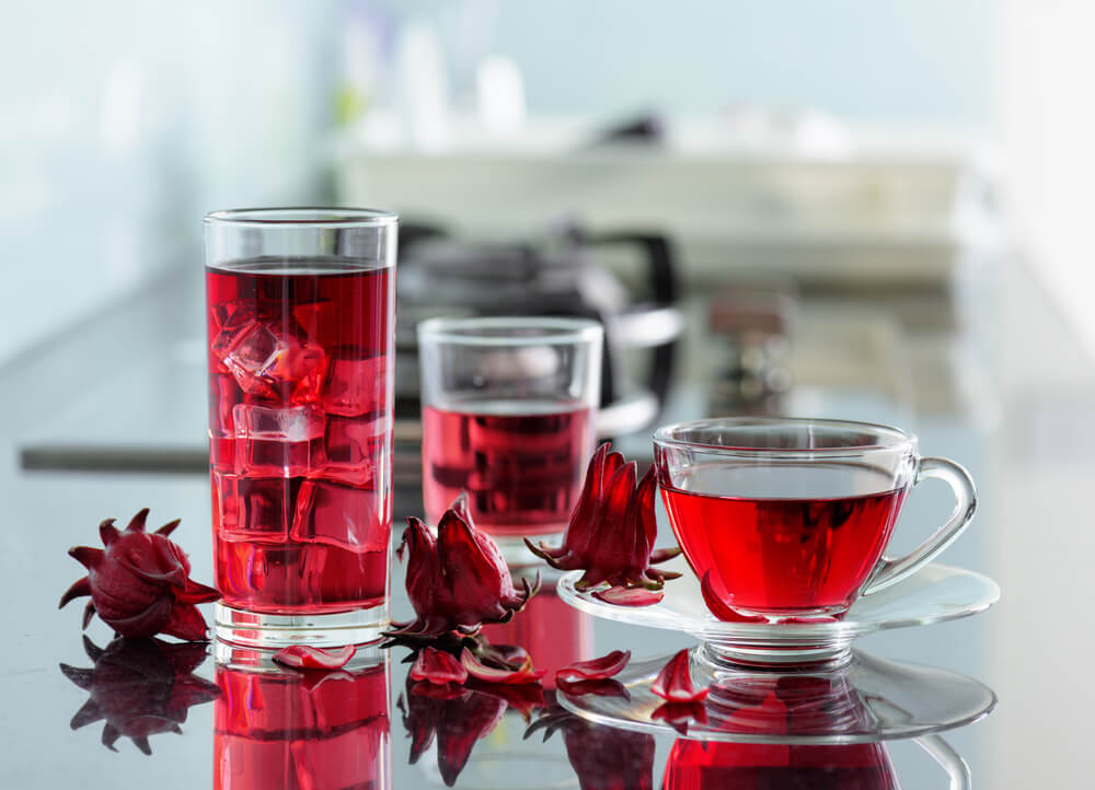 cold and hot hibiscus tea on a modern kitchen table