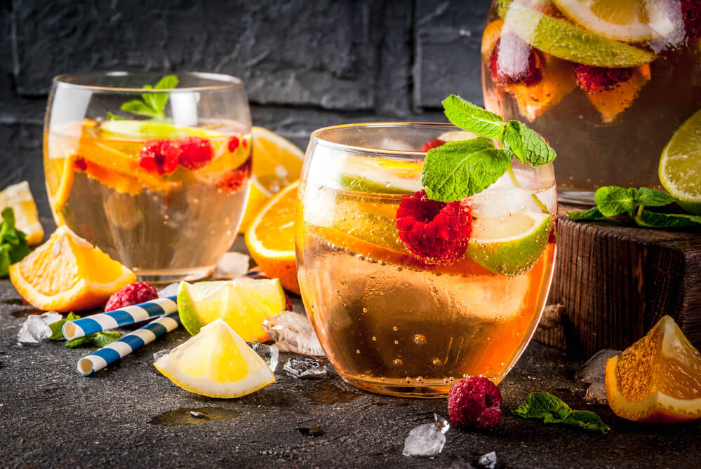 fruit, berry, white sangria, and apple