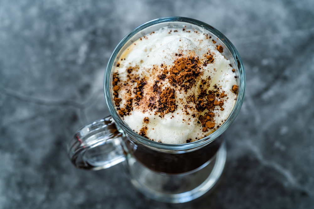 Homemade Alcoholic Amaretto Coffee with Cognac and Whipped Cream