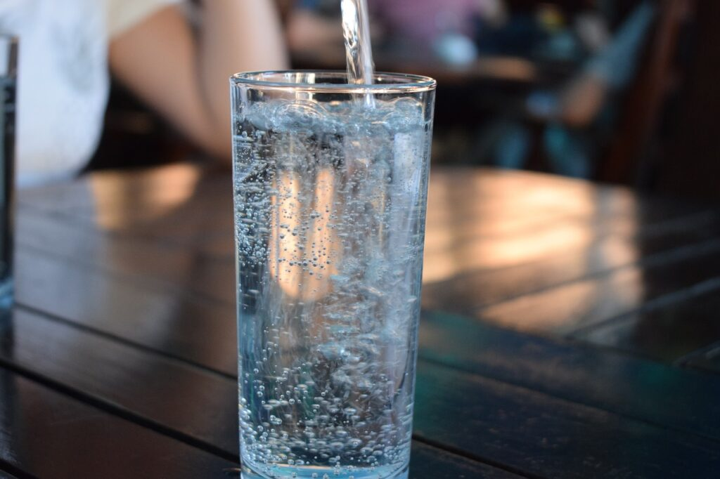 a glass of water at a table top