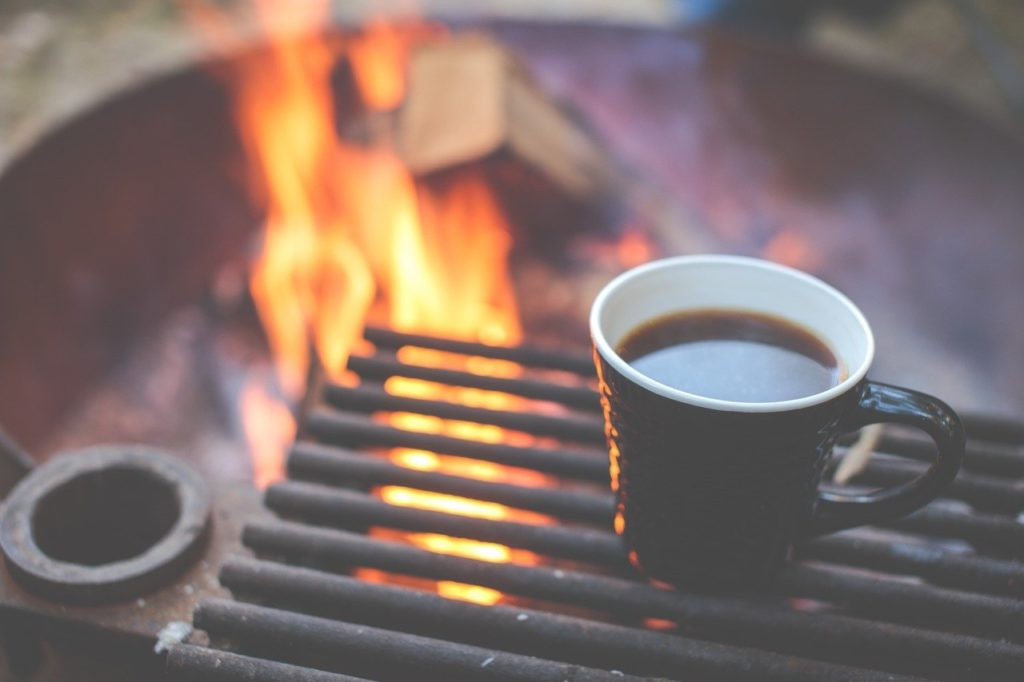 having coffee outdoors