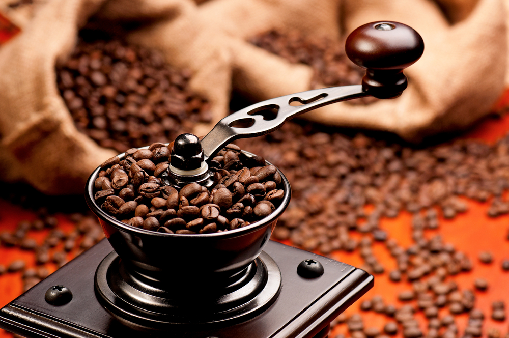 coffee in a grinder
