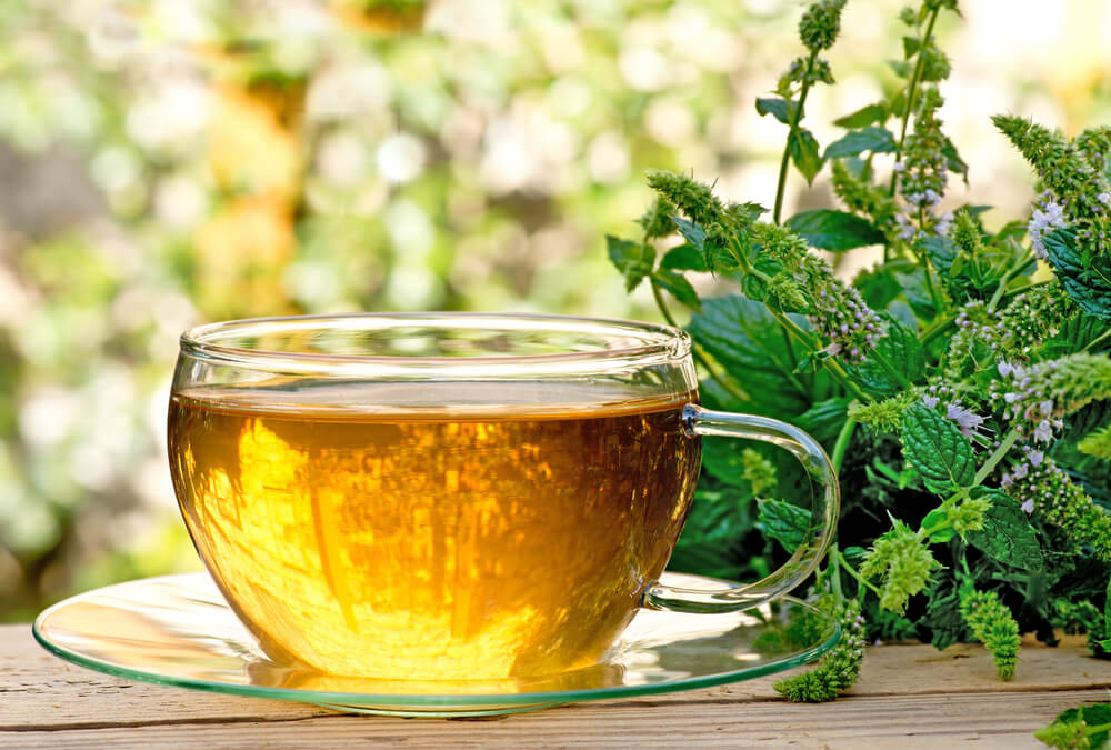 cup of tea and peppermint leaves