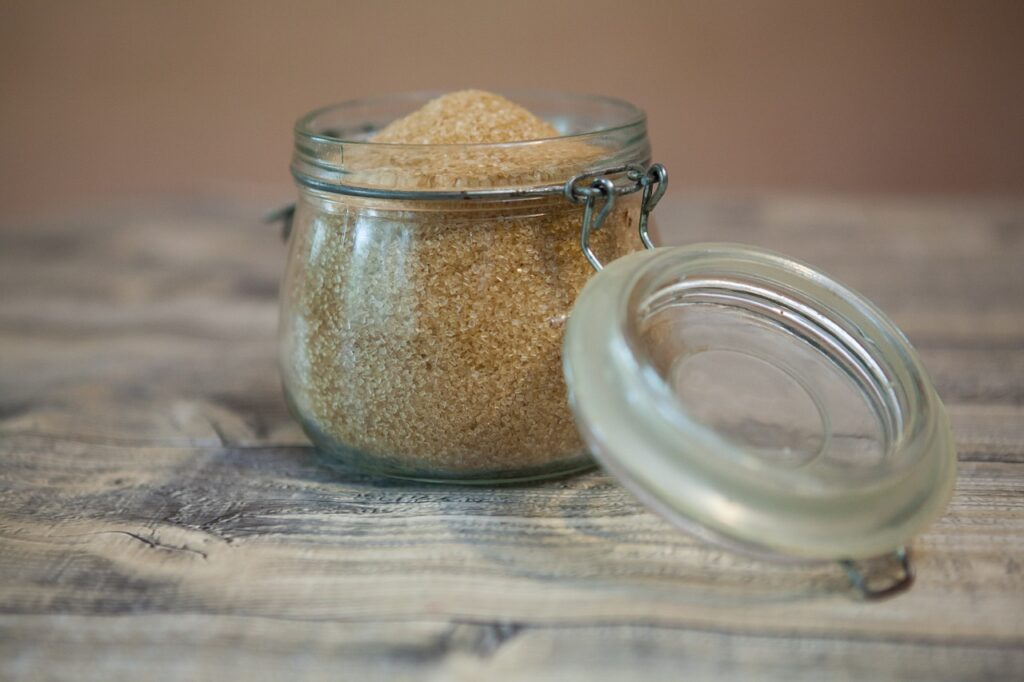 brown sugar in a small glass container