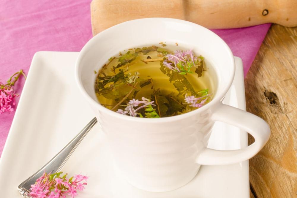 valerian root tea in a white mug