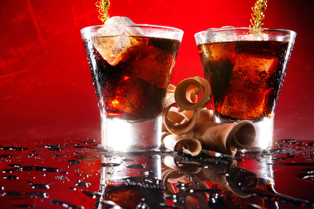 two glasses of Black Russian cocktail