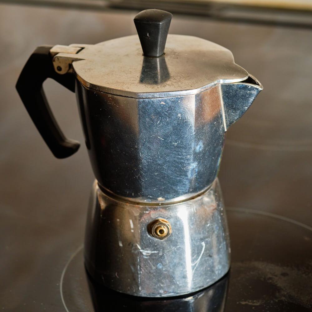 moka pot on a induction stove