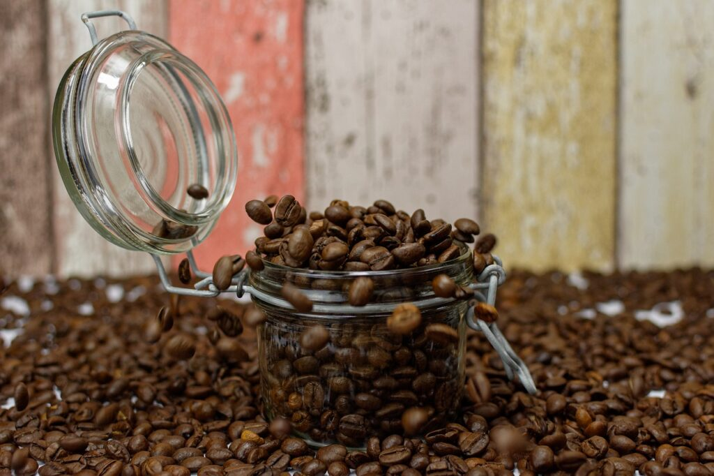 coffee beans on a small airtight container